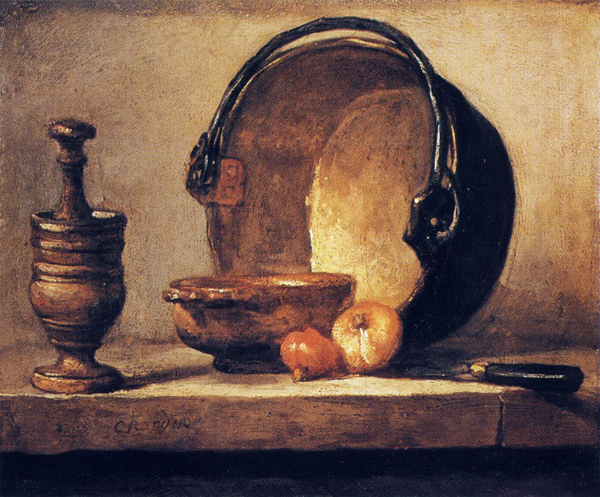 Still Life with Pestle, Bowl, Copper Cauldron, Onions and a Knife Painting1734~35